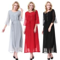 Fashion Wanita Gaun Muslim Kebaya Lengan Gaun Panjang Maxi Gaun Sabuk Termasuk (hitam)-Intl