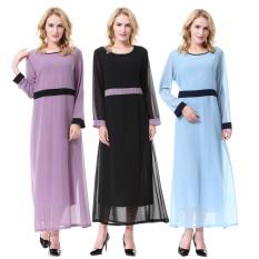 Fashion Wanita Gaun Muslim Kebaya Lengan Gaun Panjang Maxi Gaun Sabuk Termasuk (SKY Biru)-Intl