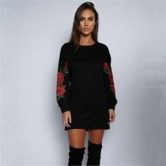 Fashion Wanita Bordir Rose Cetak Lengan Panjang Hoodie Pullover Jumper Sweatshirt Blus Hitam-Intl