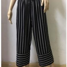 Promo Fashion Wanita Fashion Pinggang Tinggi Lengan Lebar Stripe Bell Bottom Hitam Intl Tiongkok