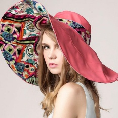 Beli Fashion Wanita Bunga Folding Bertepi Hat Sun Perlindungan Uv Outdoor Summer Beach Bowknot Topi Intl Kredit