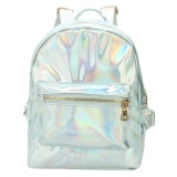 Review Fashion Wanita Hologram Holographic Pu Kulit Laser Backpack Sch**l Bookbag Tote Silver Intl Indonesia