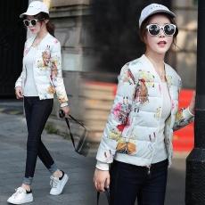 Fashion Wanita Gaya Korea Slim Jaket Mantel Musim Gugur Mantel Musim Dingin Wanita Wanita Percetakan Bunga