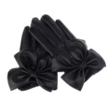 Promo Fashion Wanita Wanita Kupu Kupu Busur Pergelangan Tangan Lembut Kulit Winter Sarung Tangan Hitam Int Satu Ukuran Intl Oem