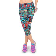 Fashion Women Lady Cropped Trousers Vintage Print Elastic Waist Gym Wear Yoga Capri Pants Intl Di Hong Kong Sar Tiongkok