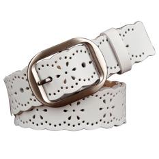 Wanita Fashion wanita gaya elastis kulit PU lebar lubang gesper pinggang Jean tali sabuk ikat pinggang