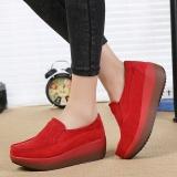 Review Fashion Wanita Ukuran Besar Rocker Sole Casual Suede Wedges Sepatu Di Tiongkok
