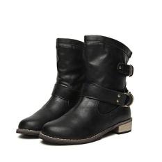 Spesifikasi Fashion Wanita Martin Boot Kulit Toe Bulat Fashion Pertengahan Betis Her Datar Murah