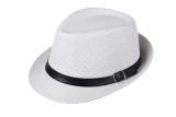 Spek Pria Fashion Wanita Topi Fedora Topi Topi Jerami Topi Pantai Trilby With Sabuk Unisex Putih International