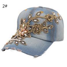 Jual Fashion Wanita Pria Rhinestone Crystal Denim Topi Bling Baseball Topi Disesuaikan Warna2 Intl Di Tiongkok