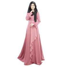 Fashion Women Muslim Wear Dresses Baju Kurung Arab Jilbab Abaya Islamic Ethnic Color Long Sleeve Fishtale Maxi Dress Pink - intl