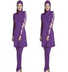 Fashion Wanita Plus Ukuran Dicetak Floral Swimwear Muslim Arab Islamic Swimsuit Jilbab Wanita Swimwear Penuh Cakupan Muslim Renang Pakaian Renang Swim Suit Purple (Dengan Free Gift Blue Cap) -Intl