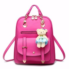 Jual Beli Fashion Women Pu Leather Backpack Sch**l Travel Girls Outdoor Bag Bear Rucksack Rose Red Intl