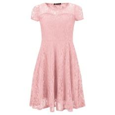 Fashion Wanita Floral Renda Lengan Pendek Pesta Malam Ekor Pendek Kasual Gaun Mini Musim Panas Warna Pink