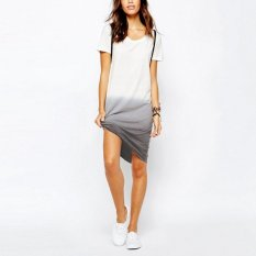 Diskon Produk Fashion Wanita Atasan Jubah Lengan Bang Pendek Katun Kasual T Shirt Longgar Asym Tee Gaun Putih Internasional