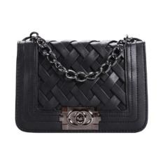 Fashion Tas Bahu Wanita Kulit Sintetis Pola Anyaman Flap Bag Cross Bag-Intl