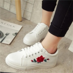 Jual Fashion Wanita Sneakers Cetak Pu Sepatu Kasual Olahraga Lace Upsflat Sepatu White Intl Baru