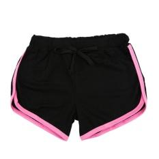 Harga Fashion Pendek Olahraga Wanita Musim Panas Kontras Binding Side Split Pinggang Elastis Celana Yoga Hitam Pink Intl Yang Murah Dan Bagus