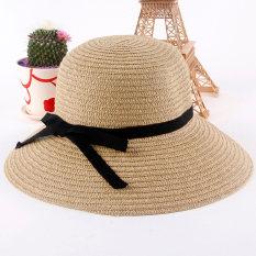Harga Fashion Wanita Topi Matahari Topi Jerami Lebar Pinggir Pantai Musim Panas Hiasan Kepala Dril Origin