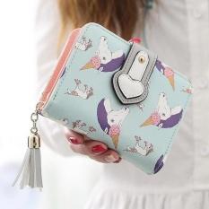 Harga Fashion Wanita Tassel Unicorn Dompet Girls Cute Dompet Kopling Pendek Pemegang Kartu Hijau Muda Internasional New
