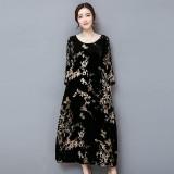 Harga Fashion Wanita Vintage Bergaya Dicetak Lengan Panjang O Neck A Line Velvet Maxi Dress Black Intl Not Specified Terbaik