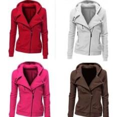 Fashion Wanita Plain Baseball Jersey Katun Zip Up Slim Mantel Cardigan Jaket (Grey)-Intl