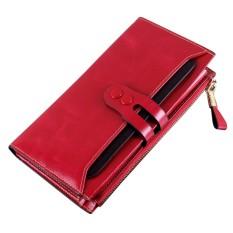 Fashion Wanita Dompet Kulit Asli Kualitas Tinggi Panjang Desain Buckle Handbag Colorful Indah Dompet Elegan Warna: Hitam-Intl