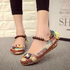 Jual Beli Fashion Women S Beading Putaran Kaki Bersulam Sepatu Renda Kasual Bertumit Rata Bertali Berwarna Warni Intl Baru Tiongkok