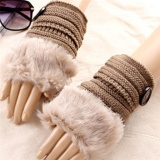 Spesifikasi Fashion Women S Cute Knitted Fingerless Winter Gloves Soft Warm Mittens Khaki Intl Yg Baik