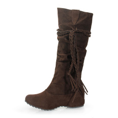 Beli Fashion Wanita Pertengahan Musim Dingin Sepatu Bot Dari Kulit Anak Sapi Rumbai Yang Hangat Dengan Her Datar Coklat Pake Kartu Kredit
