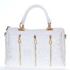Spesifikasi Fashion Wanita Tas Wanita Retro Renda Pu Imitasi Tas Selempang Jinjing Kulit Putih Terbaik