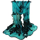 Promo Fashion Women S Long Peacock Print Chiffon Scarf Wrap Ladies Shawl Scarves New Dark Green Hong Kong Sar Tiongkok