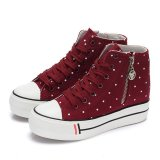 Promo Fashion Womens Round Toe Zipper Low Top Lace Up Sneakers Sepatu Platform Baji Muffin Sepatu Kanvas Warna Merah Ukuran Cina 35 40 Ukuran As 5 5 5 6 7 7 5 8 5 Hz272 Murah