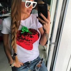 Fashion Wanita Payet Lengan Pendek Kasual Baju Atasan Longgar Top T-shirt Blus (Putih)-Intl