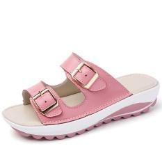Beli Fashion Wanita Slide Kulit Kasual Sandal Sepatu Pantai Intl Terbaru