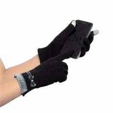 Diskon Mode Womens Sentuh Layar Musim Dingin Hangat Menenun Rajutan Pergelangan Tangan Sarung Tangan Mittens Cute Hitam Intl Branded