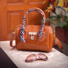 Fashionity Candy Jelly satchel 0880 da Brwn  Tas Wanita - Satchel Terbaru - Coklat Natural