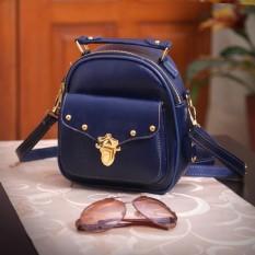 Fashionity Errika Mini  backpack 0800 NAVY - Tas Wanita - 2 Fungsi - Tas Ransel - Tas Selempang / Crossbody - Terlaris 2018 - Biru Navy