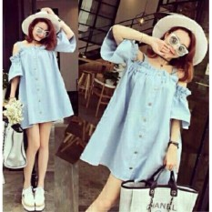 Fashionshop Dress Denim / Dress Pesta / Dress Korea / Dress Wanita / Rok Wanita / Dress Bodycon / Dress Midi / Dress Kasual / Gaun Pesta
