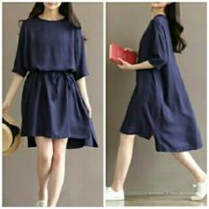 Fashionshop Dress Lina Navy / Dress Korea / Dress Renda / Dress Brukat / Dress Midi