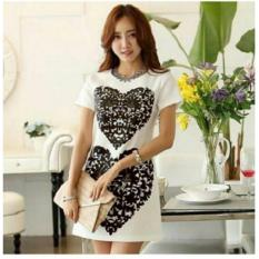 Fashionshop Dress Love White / Dress Pesta / Dress Korea / Dress Wanita / Rok Wanita / Dress Bodycon / Dress Midi / Dress Kasual / Gaun Pesta