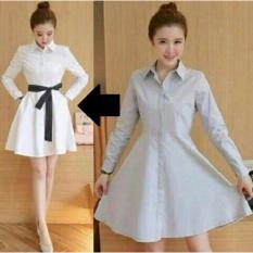 Fashionshop Dress Viana Putih / Dress Korea / Dress Renda / Dress Brukat / Dress Midi