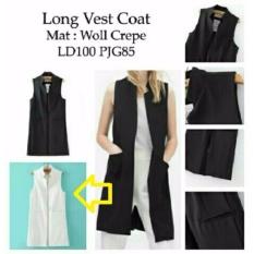 Fashionshop Rompi Long Vest Putih / Baju Wanita / Blouse Korea / Atasan Wanita / Baju Formal / Kemeja Wanita / Kemeja Formal / Atasan Muslim / Kemeja Cewek Tunik / Blouse Sabrina  /
