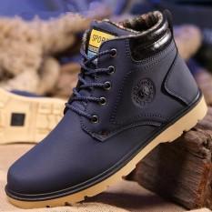 Toko Faux Suede Kulit Pria Sepatu Bot Musim Semi Musim Gugur Dan Musim Dingin Pria Sepatu Ankle Boot Pria Salju Sepatu Work Boot Biru Intl Online