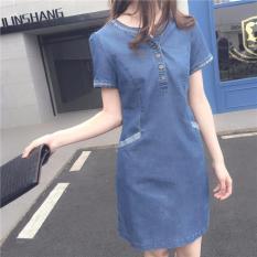 Harga Wanita Denim Gaun Musim Panas Lengan Pendek Gaun Tipis Jeans Midi Patchwork A Line Gaun Korea Intl Termurah
