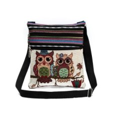 Toko Female Mini Flap Shoulder Handbags Cartoon Owl Printed Canvas Bags Intl Lengkap