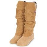 Beli Wanita Musim Dingin Bergelombang Meningkat Dalam Frosted Suede Pertengahan Betis Boots Intl Terbaru