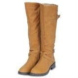 Harga Wanita Musim Dingin Trendi Semua Cocok Dengan Warna Solid Buckle Tahan Selip Panjang Leather Boots Intl New