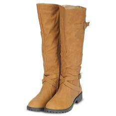 Wanita Musim Dingin Trendi Semua Cocok Dengan Warna Solid Buckle Tahan Selip Panjang Leather Boots Intl Terbaru