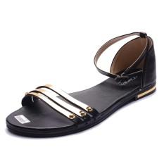 Jual Femine Sandal Flat Wanita Stripe Gold Ep01 Hitam Antik